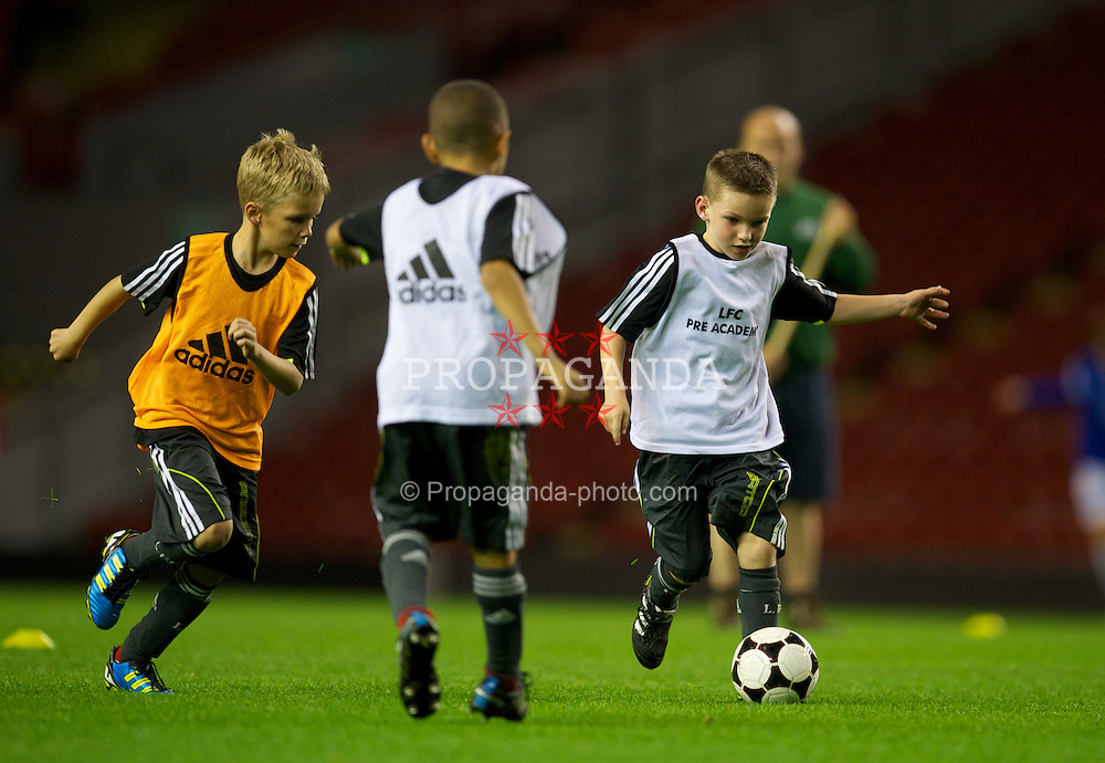 LIVERPOOL, ENGLAND - Thursday, September 29, 2011: Liverpool's Academy under eights play on the Anfield pitch during half time of the NextGen Series Group 2 match between Liverpool and Molde FK. (Pic by David Rawcliffe/Propaganda)