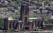 aerial photograph of the Anglican Cathederal Liverpool Merseyside England  UK