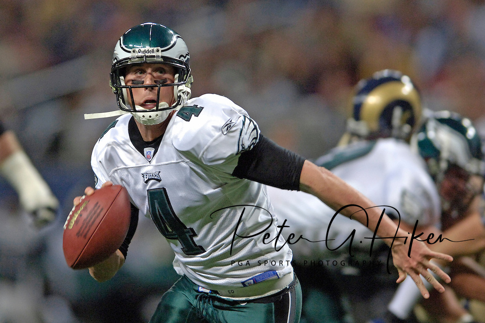 Philadelphia Eagles quarterback Mike McMahon looks down field in the third quarter against the St. Louis Rams, during the Eagles 17-16 win at the Edward Jones Dome in St. Louis, Missouri, December 18, 2005.