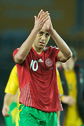 COPENHAGEN, DENMARK - Wednesday, November 19, 2008: Wales' Lewin Nyatanga after his side's 1-0 victory over Denmark during the international friendly match at the Brøndby Stadium. (Photo by David Rawcliffe/Propaganda)
