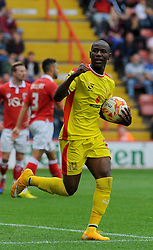 Milton Keynes Dons' Benik Afobe celebrates his first goal. - Photo mandatory by-line: Nizaam Jones- Mobile: 07583 3878221 - 27/09/2014 - SPORT - Football - Bristol - Ashton Gate - Bristol City v MK Dons - Sports