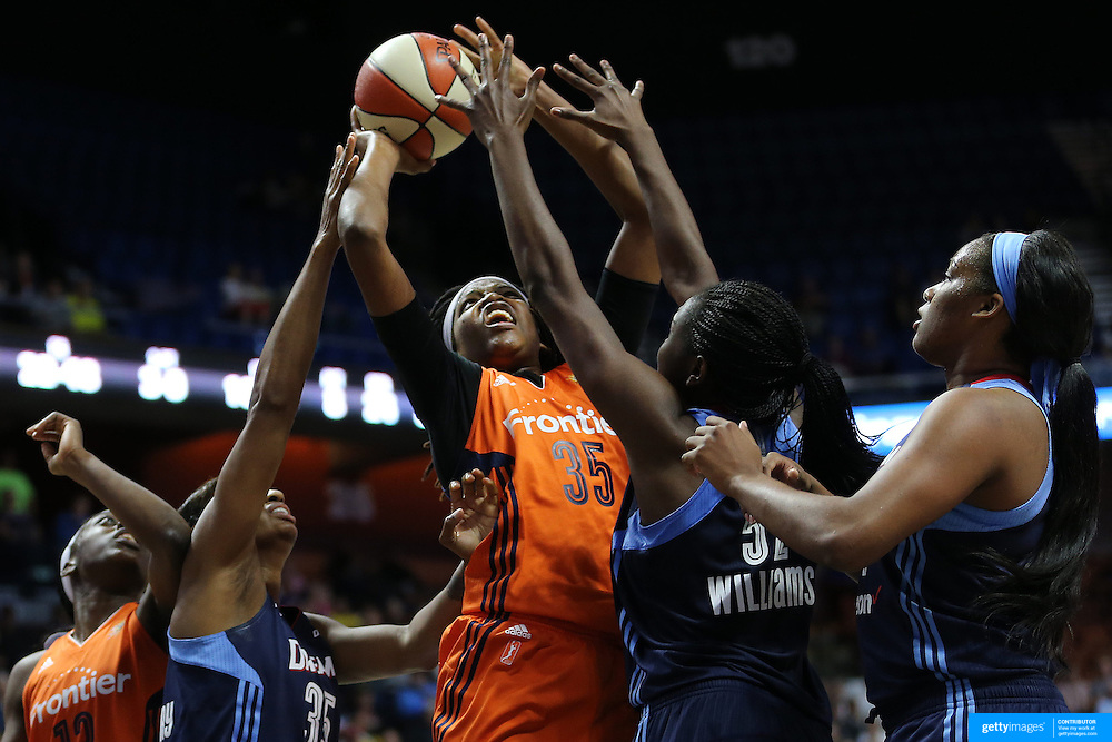 UNCASVILLE, CONNECTICUT- JUNE 3:  Jonquel Jones #35 of the Connecticut Sun attempts to shoot while defended by Elizabeth Williams #52 of the Atlanta Dream during the Atlanta Dream Vs Connecticut Sun, WNBA regular season game at Mohegan Sun Arena on June 3, 2016 in Uncasville, Connecticut. (Photo by Tim Clayton/Corbis via Getty Images)