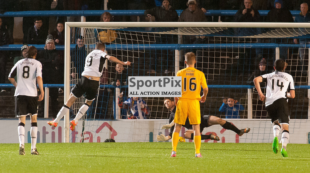 #9 Steven MacLean (St Johnstone) lashes in the equaliser from the penalty spot<br /> <br /> Greenock Morton v St Johnstone, Scottish League Cup, 27 October 2015. &copy; Russel Hutcheson | SportPix.org.uk