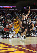 Nov 22, 2017; Los Angeles, CA, USA; Southern California Trojans guard Elijah Stewart (30) is defended by \l41\ during an NCAA basketball game at Galen Center. USC defeated Lehigh 88-63.