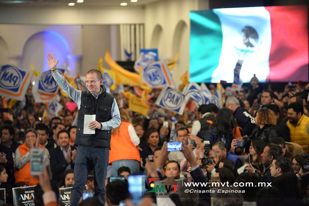 Toluca, MÈxico (Enero 08, 2018).- Ricardo Anaya, precandidato a la Presidencia de la Rep˙blica por el Partido AcciÛn Nacional (PAN), de la RevoluciÛn Democr·tica y Movimiento Ciudadano, reconociÛ y agradeciÛ la decisiÛn lecciÛn de Rafael Moreno Valle de no ir a la candidatura presidencial.  Agencia MVT / Crisanta Espinosa.