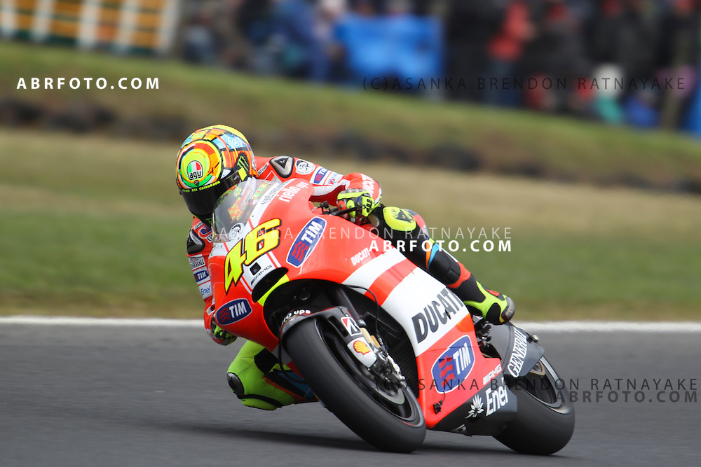 16 October 2011: Valentino Rossi (46) riding the factory Ducati  approaches turn 8 during the IVECO Australian MotoGP Grand Prix at the Phillip Island Circuit in Phillip Island, Victoria, Australia.