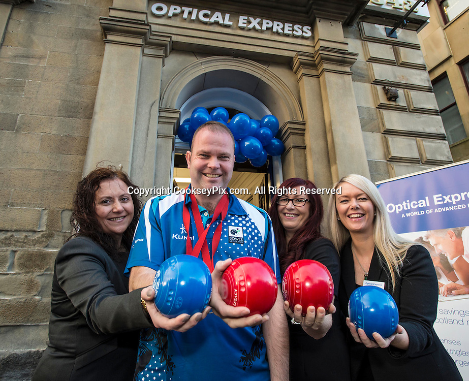 Picture by Christian Cooksey/CookseyPix.com.<br /> <br /> Free on behalf of the Big Partnership and Optical Express. <br /> Double Commonwealth Games Gold medalist and World Indoor Bowls champion  Paul Foster from Troon, Ayrshire officially launches the new Optical Express store, The Sandgate, Ayr. (See  press release attached to this email).<br /> Pictured LtoR, Optical Express store manager Maria Stevenson, Paul Foster, Diane Denholm )Patient Advisor) and Ashley Stark (Assistant Manager). <br /> <br /> <br /> For further information please contact Chris Black or Charlene Sweeney at the Big Partnership on 0141 333 9585