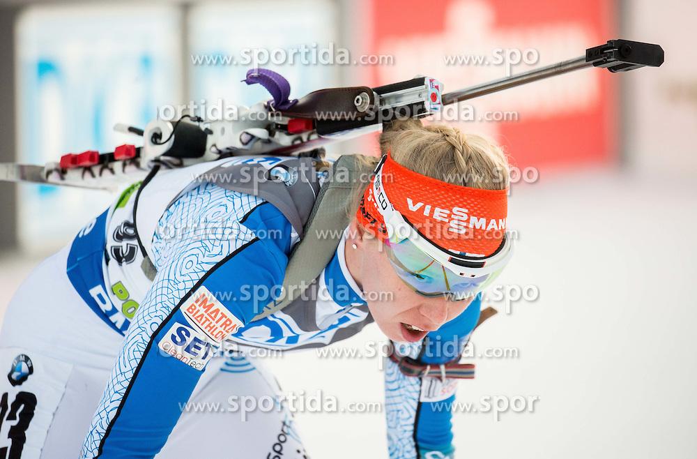 Sanna Markkanen (FIN) competes during Women 7,5 km Sprint at day 2 of IBU Biathlon World Cup 2015/16 Pokljuka, on December 18, 2015 in Rudno polje, Pokljuka, Slovenia. Photo by Vid Ponikvar / Sportida