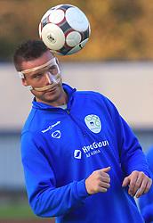 Anton Zlogar (16) with broken nose at practice of Slovenian men National team, on October 13, 2008, in Domzale, Slovenia.  (Photo by Vid Ponikvar / Sportal Images)