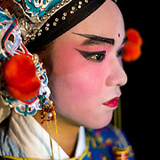 A Chinese opera singer in makeup for his performance. Butterworth, Penang, Malaysia