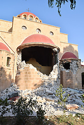 July 21, 2017 - Kos Island, Greece - A damaged church is seen after an earthquake on the Greek island of Kos early Friday. A powerful earthquake struck Turkey's Aegean coast and nearby Greek islands, sending frightened residents running out of buildings they feared would collapse and into the streets (Credit Image: © Eurokinissi via ZUMA Wire)