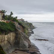 Homes by the beach under a storm. Pismo Beach, California.