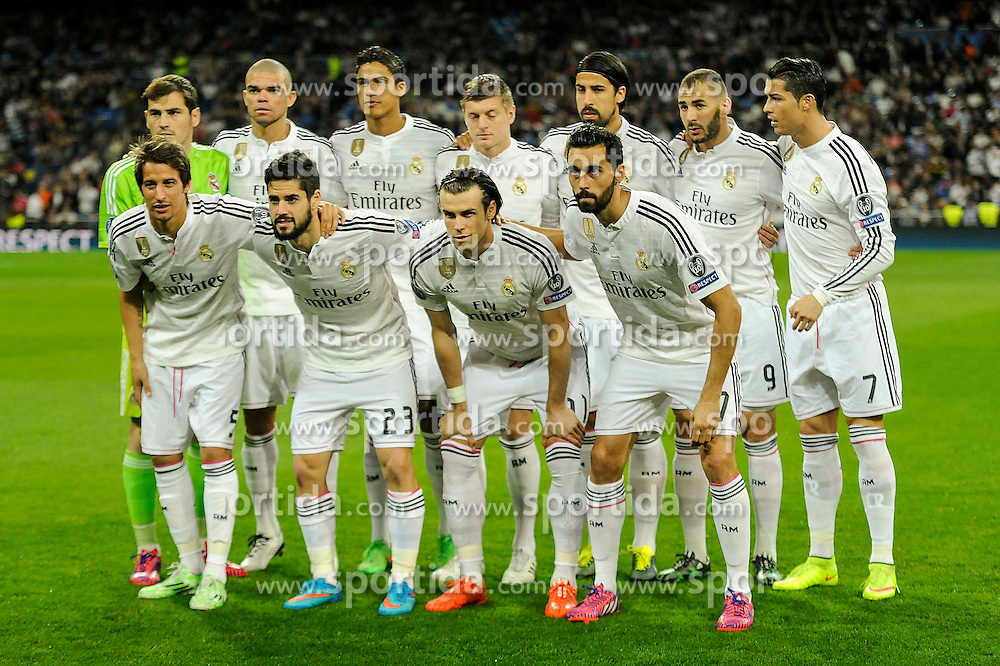 10.03.2015, Estadio Santiago Bernabeu, Madrid, ESP, UEFA CL, Real Madrid vs Schalke 04, Achtelfinal, R&uuml;ckspiel, im Bild Real Madrid&acute;s goalkeeper Iker Casillas, Raphael Varane, Pepe, Fabio Coentrao, Sami Khedira, Cristiano Ronaldo, Toni Kroos, Karim Benzema, Gareth Bale, Alvaro Arbeloa and Isco // during the UEFA Champions League Round of 16, 2nd Leg match between Real Madrid and Schakke 04 at the Estadio Santiago Bernabeu in Madrid, Spain on 2015/03/10. EXPA Pictures &copy; 2015, PhotoCredit: EXPA/ Alterphotos/ Luis Fernandez<br /> <br /> *****ATTENTION - OUT of ESP, SUI*****