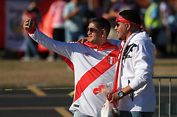 March 23, 2018 - Miami Gardens, Florida, USA - Peruvian fans take a selfie outside of the stadium before the FIFA 2018 World Cup preparation match between the Peru National Soccer Team and the Croatia National Soccer Team at the Hard Rock Stadium in Miami Gardens, Florida. (Credit Image: © Mario Houben via ZUMA Wire)