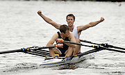 2005 Henley Royal Regatta, Henley on Thames, ENGLAND. 03.07.205  .Sunday Finals day - first session,  Mark Hunter, raises his arms after he and partner James Lindsey -Fynn win the Double Scull Challenge cup, for Leander Club and London Rowing Club on the fianla day of the 2005 Henley Royal Regatta.  Peter Spurrier.   .email images@intersport-images.[Mandatory Credit Peter Spurrier/ Intersport Images] . HRR.