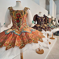 """MILAN, ITALY - JULY 13: Costumes from """"La Bella Addormentata"""" season 1992/3 by Franca Squarciapino  on display at Palazzo Morando on July 13, 2010 in Milan, Italy. The exhibition """"Il Costume veste la Musica"""" open until September 12th features more than 50 costumes and accessories chosen among the most significant pieces made for opera and ballet by the atelier of La Scala"""
