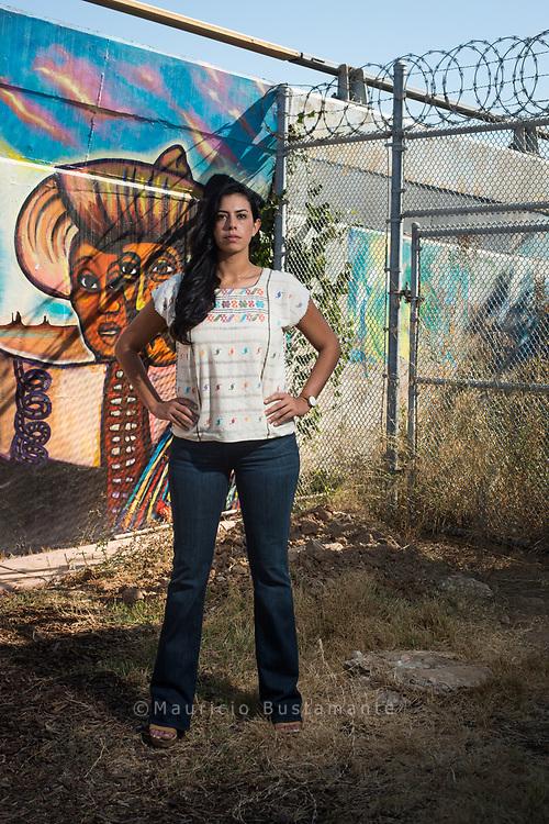Born in San Diego and raised in Tijuana Ana Gaitan is Interior designer and Border Child. Chicano Park. San Diego. California. Foto Mauricio Bustamante. 6.10.17