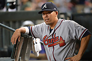 Jul 24, 2017; Phoenix, AZ, USA; Atlanta Braves catcher Kurt Suzuki (24) looks on in the dugout in the MLB game against the Arizona Diamondbacks at Chase Field. Mandatory Credit: Jennifer Stewart-USA TODAY Sports
