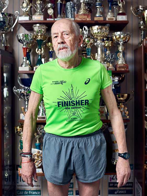 Bernard Alsat, 80 years-old marathon runner, at home. Orsay, France. March 28, 2017.<br /> Bernard Alsat, marathonien de 80 ans, chez lui. Orsay, France. 28 mars, 2017.