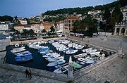 CROATIA: Dalmatian Coast. Hvar Town and the old inner port, Hvar Island.