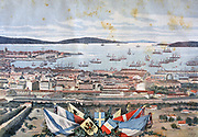 View of the French naval port of Toulon during the visit of the Russian Mediterranean fleet. From 'Le Petit Journal', Paris, 14 October 1893.  France, Russia, Friendship, Alliance, Diplomacy