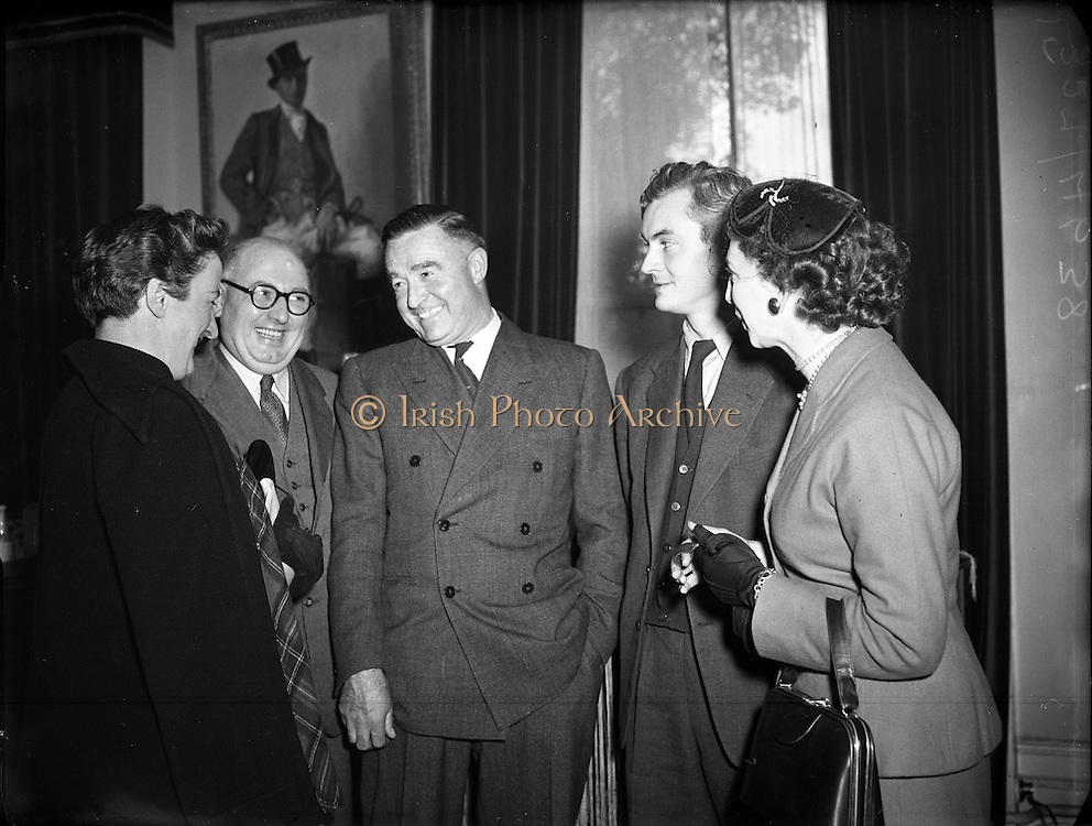 Count John and Mrs McCormack at a press reception in their home. <br /> <br /> 19th October 1953.<br /> <br /> 19.10.1953.
