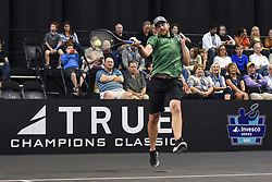 October 4, 2018 - St. Louis, Missouri, U.S - ANDY RODDICK returns the ball during the Invest Series True Champions Classic on Thursday, October 4, 2018, held at The Chaifetz Arena in St. Louis, MO (Photo credit Richard Ulreich / ZUMA Press) (Credit Image: © Richard Ulreich/ZUMA Wire)