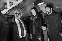 VALLO DELLA LUCANIA (SA) - 4 FEBBRAIO 2018: Alessia d'Alessandro (27, centro), candidata per il Movimento 5 Stelle alla Camera dei Deputati nelle elezioni politiche del 2018, e Angelo Tofalo (M5S, destra) ascoltano il candidato M5S Franco Castiello durante un'intervista a Vallo della Lucania (SA) il 4 febbraio 2018.<br /> <br /> Le elezioni politiche italiane del 2018 per il rinnovo dei due rami del Parlamento – il Senato della Repubblica e la Camera dei deputati – si terranno domenica 4 marzo 2018. Si voterà per l'elezione dei 630 deputati e dei 315 senatori elettivi della XVIII legislatura. Il voto sarà regolamentato dalla legge elettorale italiana del 2017, soprannominata Rosatellum bis, che troverà la sua prima applicazione<br /> <br /> ###<br /> <br /> VALLO DELLA LUCANIA, ITALY - 4 FEBRUARY 2018: Alessia d'Alessandro (27. left), running for a seat in the Chamber of Deputies with Five Stars Movement (M5S / Movimento 5 Stelle), and Angelo Tofalo (right) listen to the M5S Franco Castiello during an interview in Vallo della Lucania, Italy, on February 4th 2018.<br /> <br /> The 2018 Italian general election is due to be held on 4 March 2018 after the Italian Parliament was dissolved by President Sergio Mattarella on 28 December 2017.<br /> Voters will elect the 630 members of the Chamber of Deputies and the 315 elective members of the Senate of the Republic for the 18th legislature of the Republic of Italy, since 1948.
