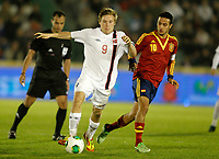 Spain's Thiago Alcantara (r) and Norway's Svensson during international sub21 match.March 21,2013. (ALTERPHOTOS/Acero)