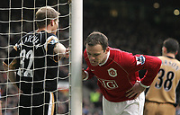 Photo: Paul Thomas.<br /> Manchester United v Charlton Athletic. The Barclays Premiership. 10/02/2007.<br /> <br /> Wayne Rooney of Man Utd takes time for a spit.