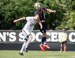 MOON TOWNSHIP, PA - AUGUST 28:  Rafael Bruzual #9 of the Robert Morris Colonials scores on a header in the second half during the game between the Robert Morris Colonials and the Cleveland State Vikings at the North Athletic Complex on August 28, 2016 in Moon Township, Pennsylvania. (Photo by Justin Berl)