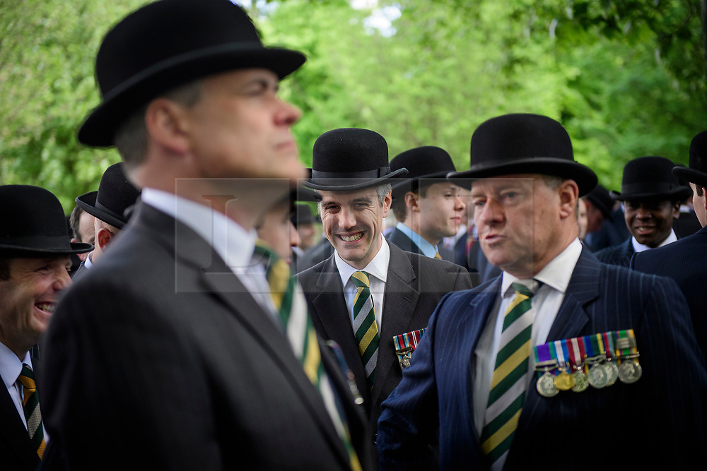 © London News Pictures. 14/05/2017. London, UK. A Cavalryman gather before the service starts. Thousands of serving and former Cavalrymen, many wearing bowler hats and carrying closed umbrellas, take part in Combined Cavalry Old Comrades Association Annual Parade in Hyde Park, London. A service of remembrance is held to honour Cavalry and other troops who have fallen in the service of their country since the first world war. Photo credit: Ben Cawthra/LNP