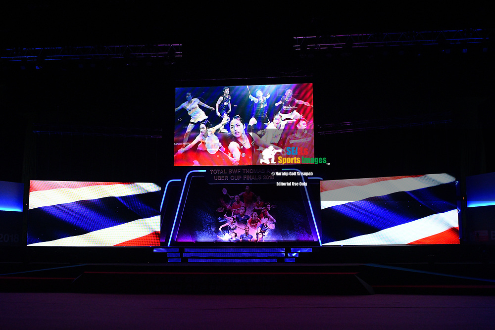 BANGKOK, THAILAND - MAY 26: Center stage is set for Team Thailand vs Team Japan for the Uber Cup Finals at the BWF Total Thomas and Uber Cup Finals 2018, Impact Arena, Bangkok, Thailand on May 26, 2018.<br /> .<br /> .<br /> .<br /> (Photo by: Naratip Golf Srisupab/SEALs Sports Images)<br /> .<br /> Any image use must include a mandatory credit line adjacent to the content which should read: Naratip Golf Srisupab/SEALs Sports Images
