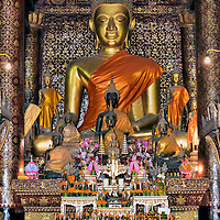Altar Inside Sim of Wat Xieng Thong in Luang Prabang, Laos <br />