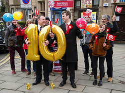 Pictured: Ian Murray and Daniel Johnson<br /> <br /> Ian Murray , MP, shadow Scottish Secretary joined Edinburgh South candiate Daniel Johnson on the streets to Edinburgh to celebrate 10 years of free public transport for the over sixties and announce plans to immprove public transport. <br /> <br /> Ger Harley | EEm 1 April 2016