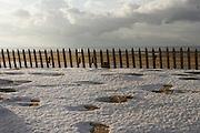 December 27th 2005. Le Touquet (Nord Pas de Calais), France..Winter snow on the beach.