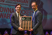 KELOWNA, CANADA - MARCH 18:  Top Defensive Forward Hollis Pierce Award Sponsored by Dr. Murray Smith.  The award was presented by Jason Smith to Conner Bruggen-Cate at the Kelowna Rockets Awards Ceremony on March 18, 2018 at The Kelowna Community Theatre  in Kelowna, British Columbia, Canada.  (Photo By Cindy Rogers/Nyasa Photography,  *** Local Caption ***