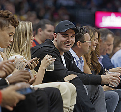 October 21, 2018 - Denver, Colorado, U.S - Broncos back up QB CHAD KELLY, center, enjoys the game from his front row seats during the 2nd. Half at the Pepsi Center Sunday night. The Nuggets beat the Warriors 100-98. (Credit Image: © Hector Acevedo/ZUMA Wire)
