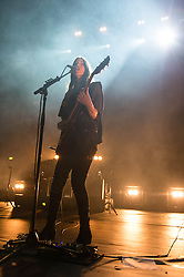 © Licensed to London News Pictures. 06/03/2014. London, UK.   Haim performing live at Brixton Academy for their biggest ever UK headline date a week after winning Best International Band at the NME Awards, having also been nominated in the Best International Group category at the Brit Awards in February, and also having won Best Live Act at the 2014 The Fly awards. In this picture - Danielle Haim.  Haim is an American rock band consisting of sisters Este Arielle, Danielle and Alana  Haim along with drummer Dash Hutton.   Photo credit : Richard Isaac/LNP