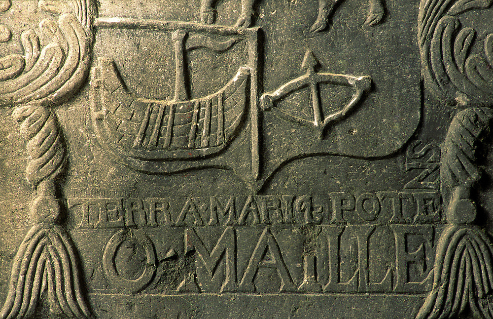 Clare Island, County Mayo, Ireland. 17 C. altar tomb detail of coat of arms of the O'Malleys. Grace O'Malley pirate queen.