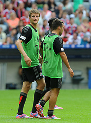09.08.2014, Allianz Arena, Muenchen, GER, 1. FBL, FCB AllStars vs ManUtd. Legends, im Bild Links Thomas Mueller (FC Bayern Muenchen) // during a Friendly Match between FCB AllStars and ManUtd. Legends at the Allianz Arena in Muenchen, Germany on 2014/08/09. EXPA Pictures © 2014, PhotoCredit: EXPA/ Eibner-Pressefoto/ Stuetzle<br /> <br /> *****ATTENTION - OUT of GER*****