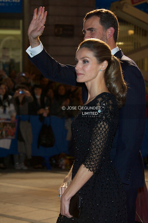 Queen Sofia, Prince Felipe and Princess Letizia attend Prince of Asturias Awards 2010 ceremony at 'Campoamor' Theater on October 22, 2010 in Oviedo, Spain.