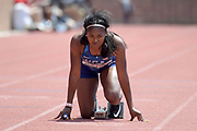 Apr 28, 2018; Philadelphia, PA, USA; Aaliyah Brown (USA) in the starting blocks of the USA vs. The World women's 4 x 100m relay during the 124th Penn Relays at Franklin Field.
