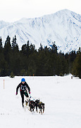Katherine Scheck, a local skijorer, races to a first-place finish in the Carbon Hill race at Mount Lorne.