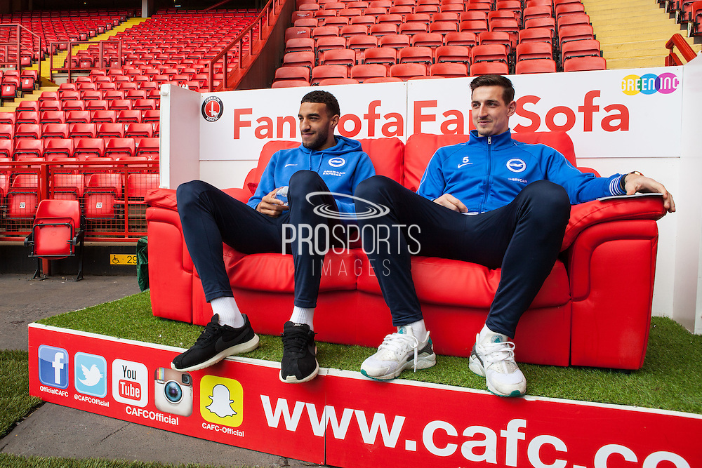 Brighton defenders Connor Goldson & Lewis Dunk in relaxed mood before the Sky Bet Championship match between Charlton Athletic and Brighton and Hove Albion at The Valley, London, England on 23 April 2016. Photo by Bennett Dean.