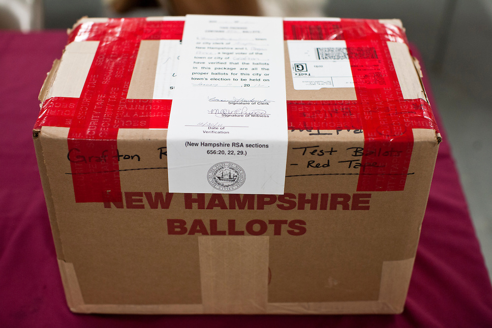 A box of ballots awaits voters at the Grafton Fire Station for primary voting on Tuesday, January 10, 2012 in Grafton, NH. Brendan Hoffman for the New York Times