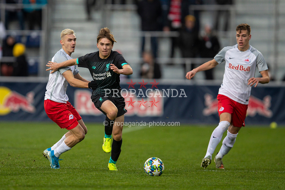 GRÖDIG, AUSTRIA - Tuesday, December 10, 2019: Liverpool's James Norris during the final UEFA Youth League Group E match between FC Salzburg and Liverpool FC at the Untersberg-Arena. (Pic by David Rawcliffe/Propaganda)