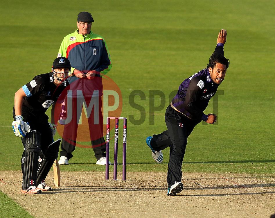 Gloucestershire's Kieran Noema-Barnett bowls - Photo mandatory by-line: Robbie Stephenson/JMP - Mobile: 07966 386802 - 26/06/2015 - SPORT - Cricket - Bristol - The County Ground - Gloucestershire v Sussex - Natwest T20 Blast