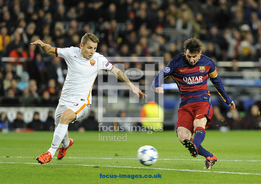 Lionel Messi of FC Barcelona scores his first goal during the UEFA Champions League match at Camp Nou, Barcelona<br /> Picture by Stefano Gnech/Focus Images Ltd +39 333 1641678<br /> 24/11/2015