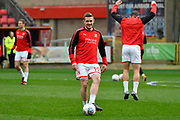 Timi Elsnik (19) of Swindon Town warming up before the EFL Sky Bet League 2 match between Swindon Town and Yeovil Town at the County Ground, Swindon, England on 10 April 2018. Picture by Graham Hunt.
